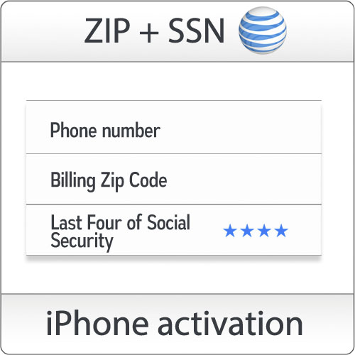 USA AT&T iPhone activation with ZIP + SSN