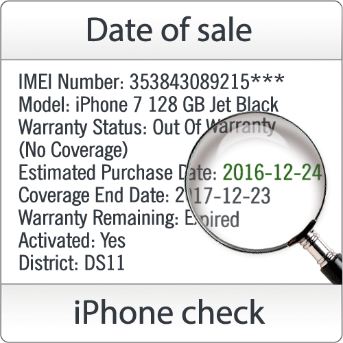 "Check iPhone, iPad - ""Sold by"": [country and date of sale] by SN"